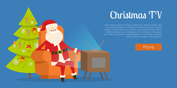 Christmas TV Calm Rest Concept Vector Illustration