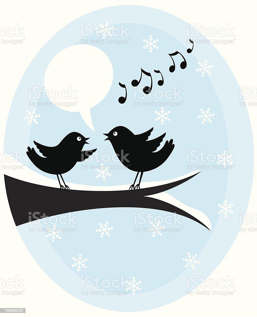 Christmas Tweeting Birds vector art illustration
