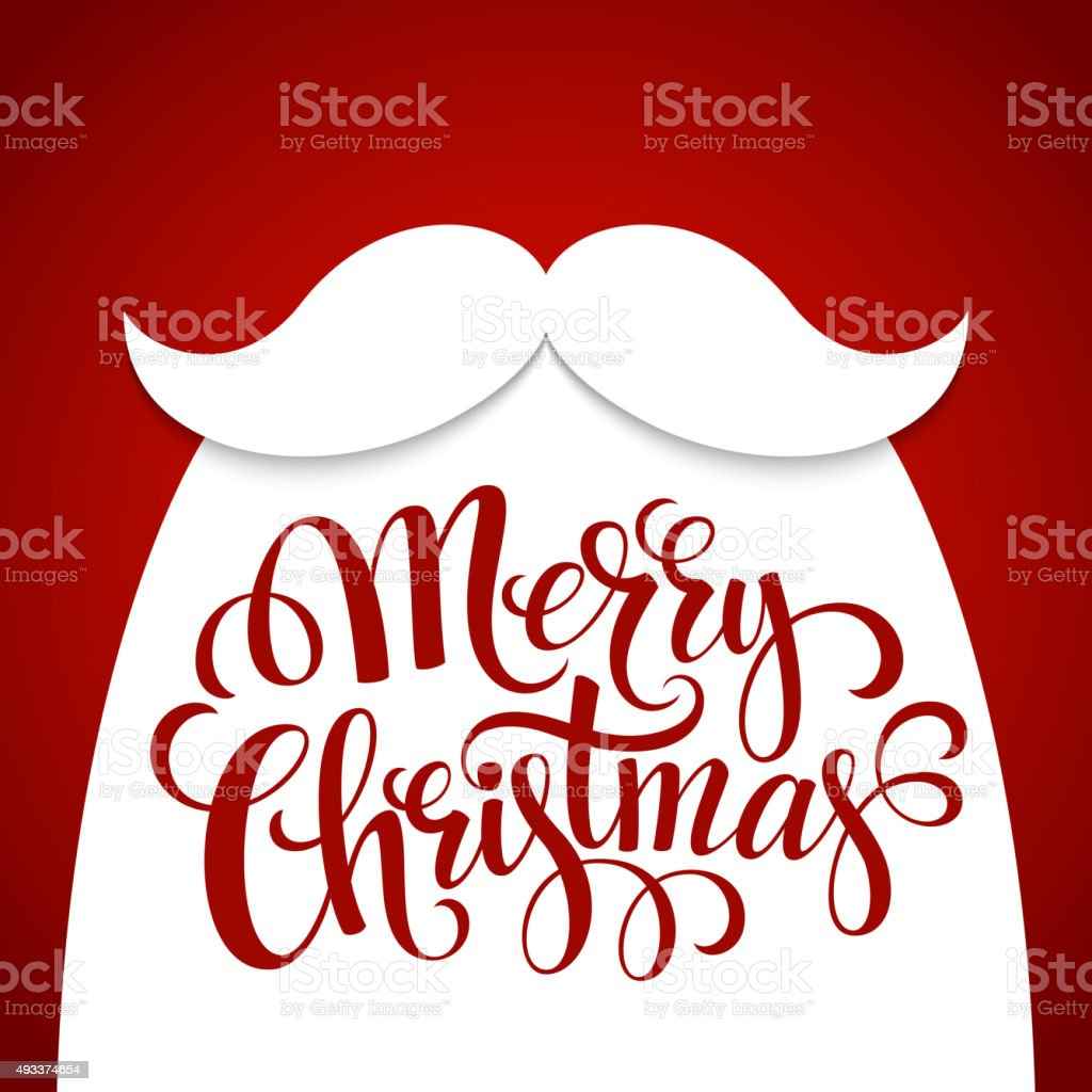 Christmas Typographic Background. Santa  Beard. Vector illustration vector art illustration