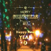 Christmas Typography Greeting Card. Merry Christmas And Happy New Year.
