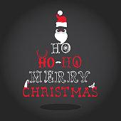 Christmas Typography Retro Card - in vector