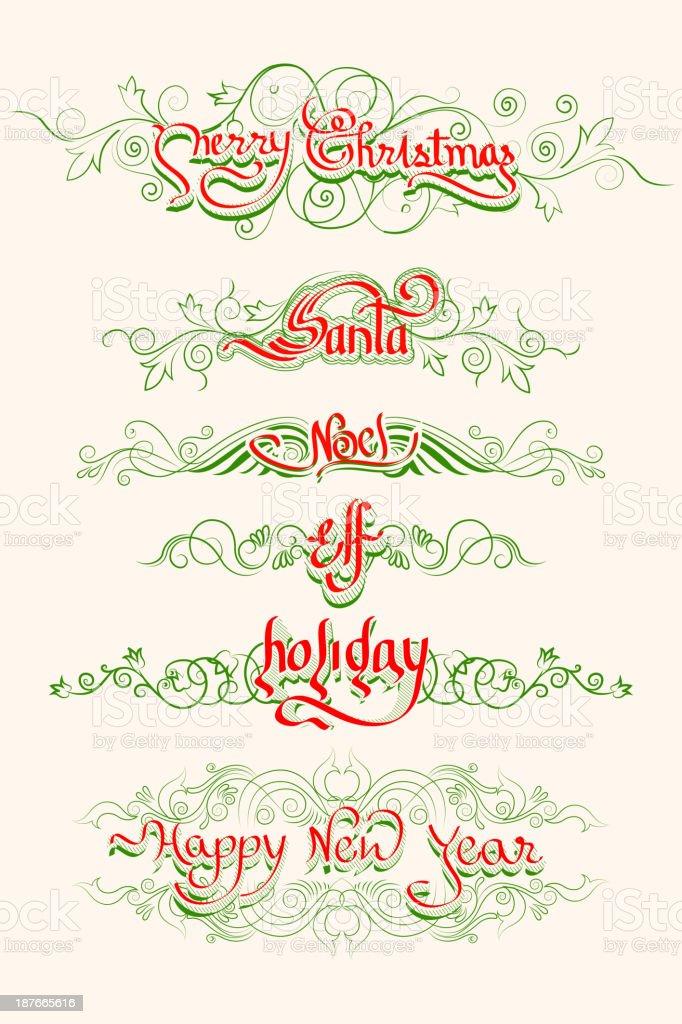 Christmas Typography Swirls royalty-free stock vector art
