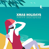 Winter holiday vacation concept. Retro poster in pop art style. Christmas season fun and rest. Happy girl in Santa hat on seaside beach coast. Vector new year tourist trips advertisement background