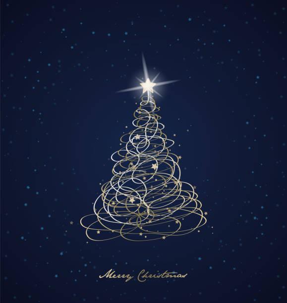 stockillustraties, clipart, cartoons en iconen met kerst vector achtergrond met kerstboom en sterren op de hemel. - blue sky