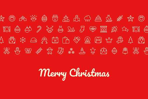 Christmas Vector Background with Line Icons. Contains such icons as: Santa, Christmas Tree, Snowflake.