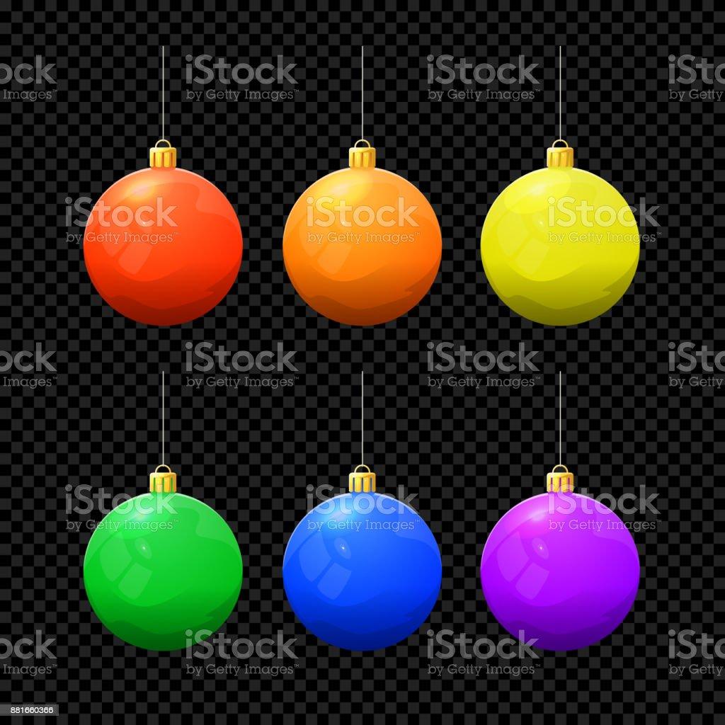 Christmas Vector Ball Set Isolated on Dark Background