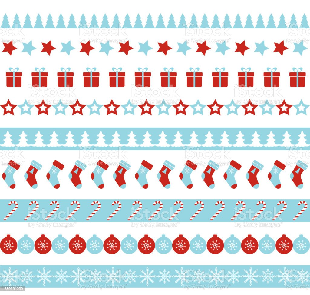 Christmas vector borders seamless endless ornament for washi tapes christmas vector borders seamless endless ornament for washi tapes wrapping paper greeting cards m4hsunfo