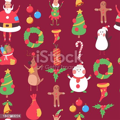 istock Christmas vector cartoon seamless pattern background for wallpaper, wrapping, packing, and backdrop. 1347233224