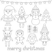 Christmas vector characters, coloring page (or digital stamps)