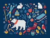 Christmas vector collection of design elements with polar bear, cones, berries, baubles, hot winter drinks, sweets, bunnies, ice skates, skis, leaves and snowflakes. Perfect for season decorations.