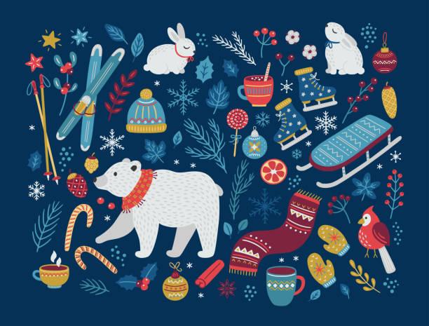ilustrações, clipart, desenhos animados e ícones de coleção vetorial de natal de elementos de design. ilustração desenhada à mão do vetor. - inverno