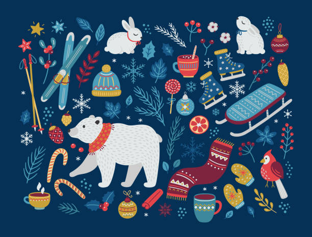 Christmas vector collection of design elements. Hand drawn vector illustration. Christmas vector collection of design elements with polar bear, cones, berries, baubles, hot winter drinks, sweets, bunnies, ice skates, skis, leaves and snowflakes. Perfect for season decorations. winter stock illustrations