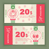 Christmas Vector coupon Voucher with Santa Claus. State currency. Back sides of money bills. Two hundred dollars