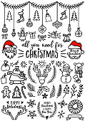 Hand drawn Christmas doodles for cards, banners, set of vector design elements