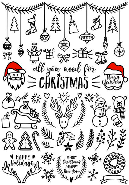 Christmas vector design elements Hand drawn Christmas doodles for cards, banners, set of vector design elements christmas icons stock illustrations