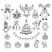 Christmas vector doodles set. Hand drawn christmas elements.
