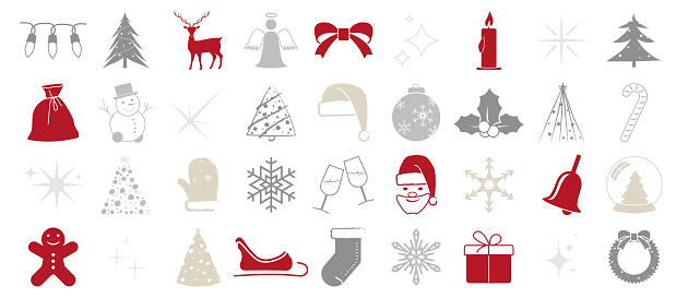 Christmas Vector Editable and Scalable at Any Size - Collection of 36 Icons