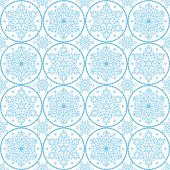 Repetitive winter designs - round snowflakes on white background, Swedish traditional decoration