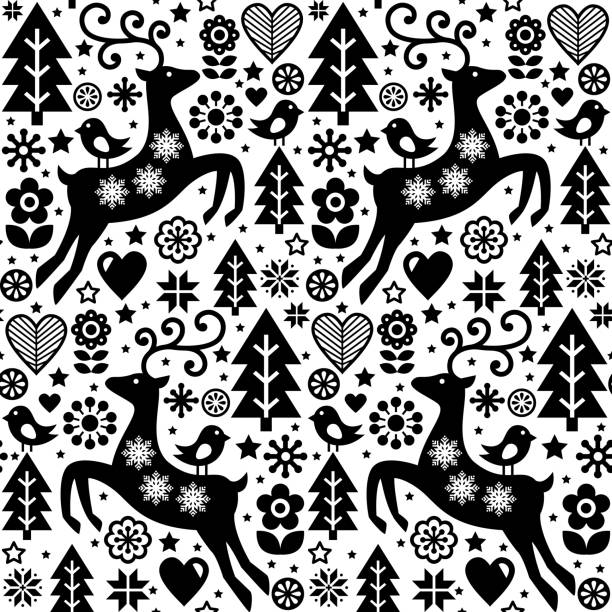 christmas vector folk style seamless pattern scandinavian design in black and white reindeer birds and flowers decoration wallpaper stock vector art more - Christmas In Black And White