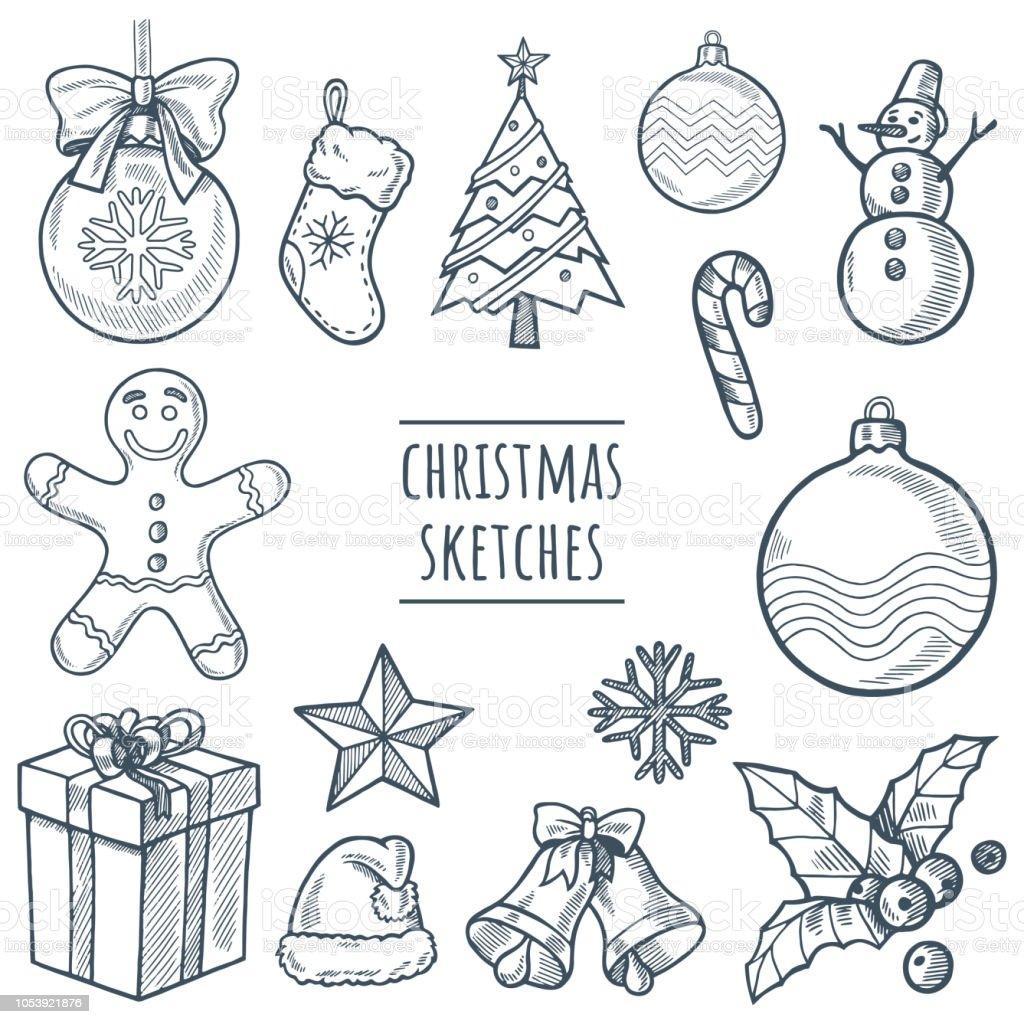 Weihnachten Vektor Handgezeichnete Skizze Festgelegt ...