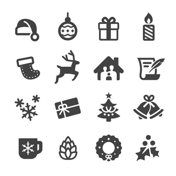 christmas vector icons - acme series - reindeer stock illustrations