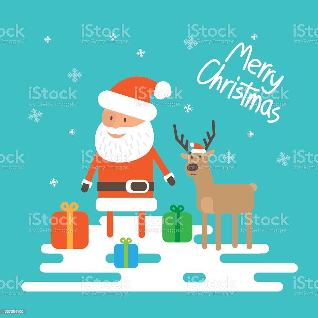 Immagini Di Natale Con Babbo Natale.Illustrazione Vettoriale Di Natale Con Babbo Natale E Renne Immagini Vettoriali Stock E Altre Immagini Di Babbo Natale