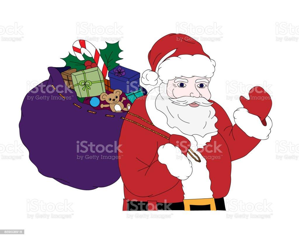 Noel Vektor Cizim Noel Baba Hediye Renkli Tam Bir Cuval Tasima Ile
