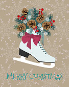 Christmas vector cute illustration with winter skates, fir branches , pinecone and berry. Festive template for greeting cards or banners