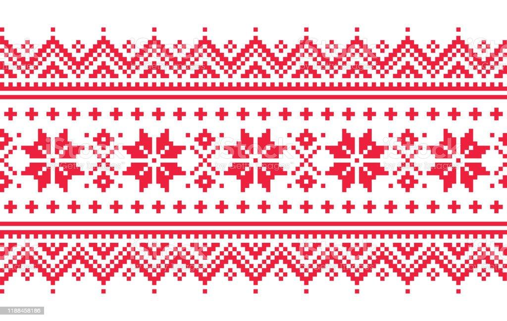 Jul vektor lång sömlös vinter mönster, inspirerad av samiska människor, Lappland folkkonst design, traditionell stickning och broderi - Royaltyfri Bildbakgrund vektorgrafik