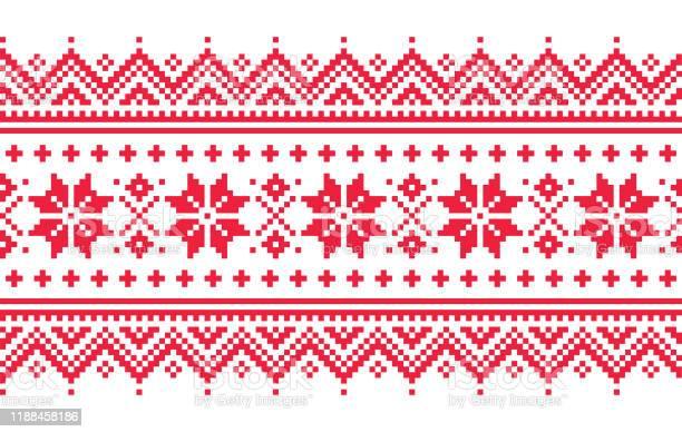 Jul Vektor Lång Sömlös Vinter Mönster Inspirerad Av Samiska Människor Lappland Folkkonst Design Traditionell Stickning Och Broderi-vektorgrafik och fler bilder på Bildbakgrund