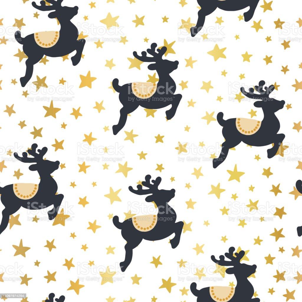 Christmas vector pattern reindeer and gold stars vector art illustration
