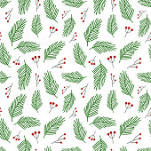 Seamless Christmas vector pattern. Green pine branches and red holly berries isolated on white background. Festive illustration. Cute doodle art. Perfect for wallpaper or fabric.