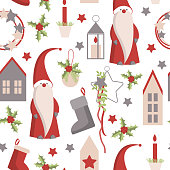 Christmas seamless  vector pattern with Santa Claus.
