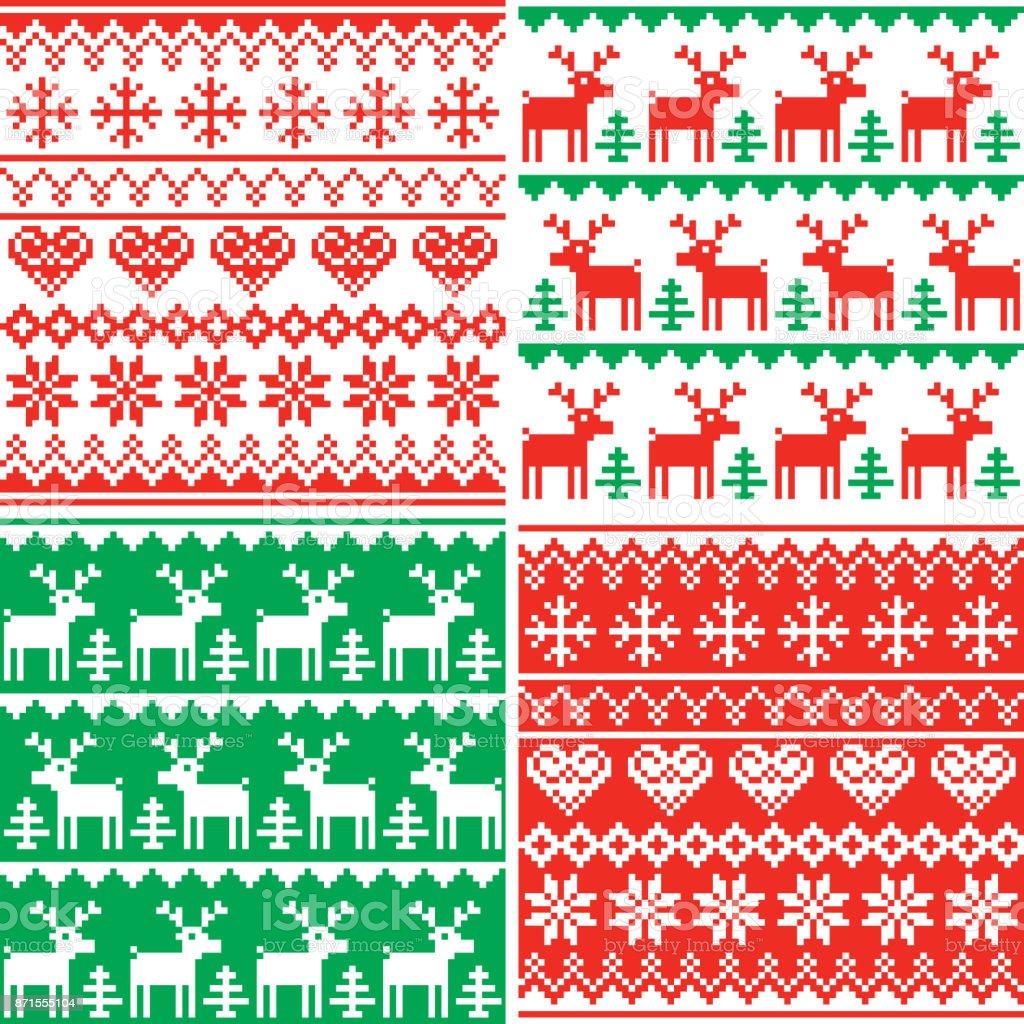 Weihnachten Vektor Patttern, nahtloses Design Winterkollektion, hässliche Xmas Pullover Stil festlegen – Vektorgrafik
