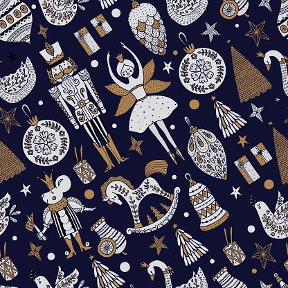 Christmas vector seamless Nutcracker pattern.