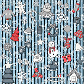 Vector seamless pattern with snowman, reindeer,Christmas tree,gift,house,candle, cookies,Santa Claus,footprints,snowflakes,ice skating,sleigh,stocking,Christmas ball on a striped holiday background.