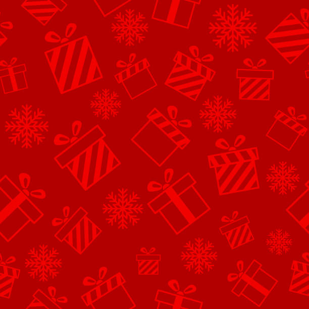 Christmas vector seamless pattern Christmas vector seamless pattern with gift boxes on red background. New year vector design. Wrapping paper for Christmas gift boxes, birthday, wedding and other holidays holiday background stock illustrations
