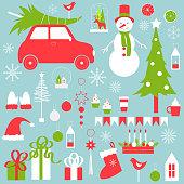 Christmas vector set  with snowman, cars and Christmas tree.