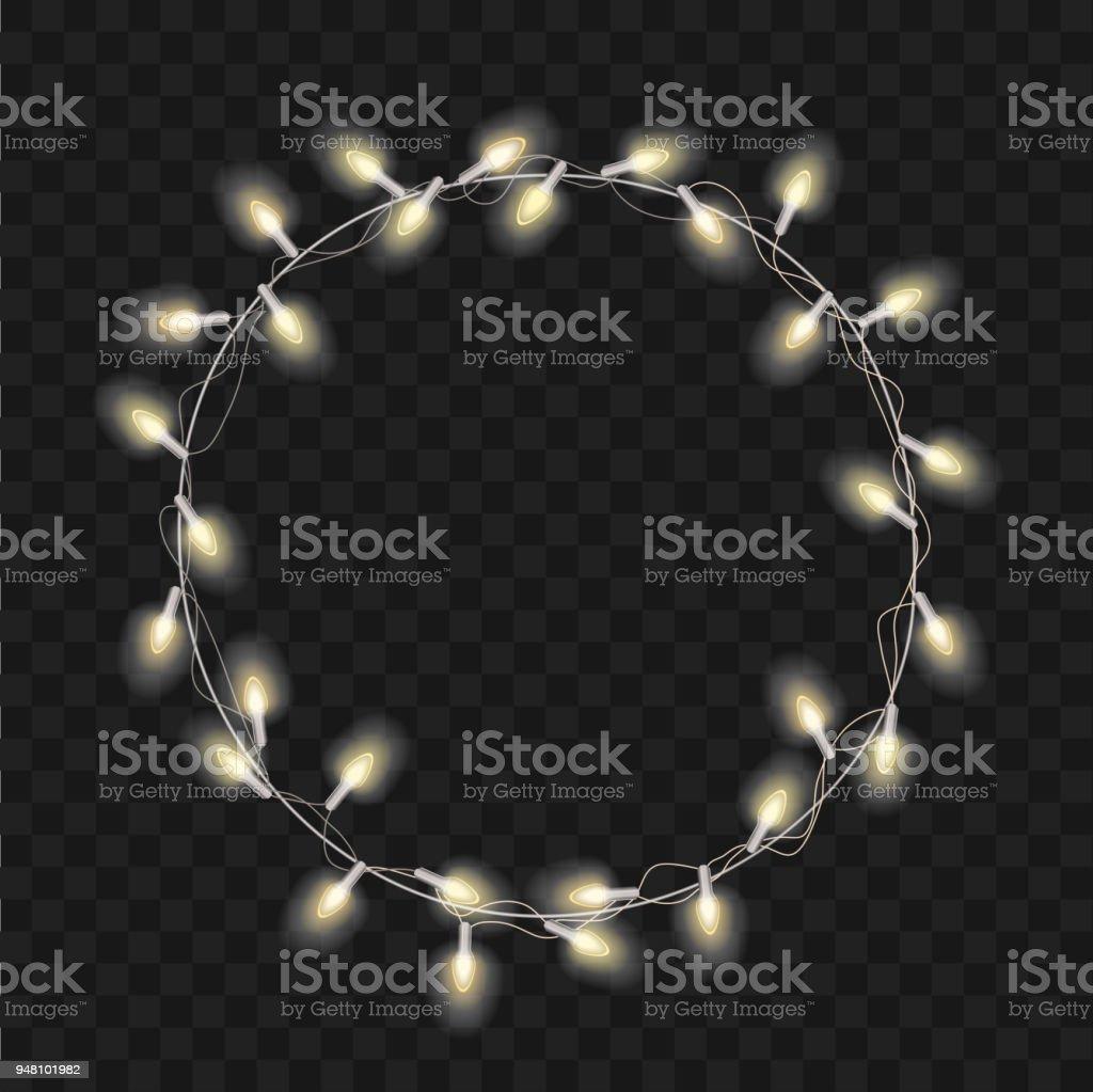 Moderne Weihnachtsbeleuchtung.Weihnachten Vektor Durchsichtig Hintergrund Mit Hellen Realistischen