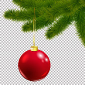 Christmas vector tree decorative branch with baubles on transparent background. Realistic pine branches illustration