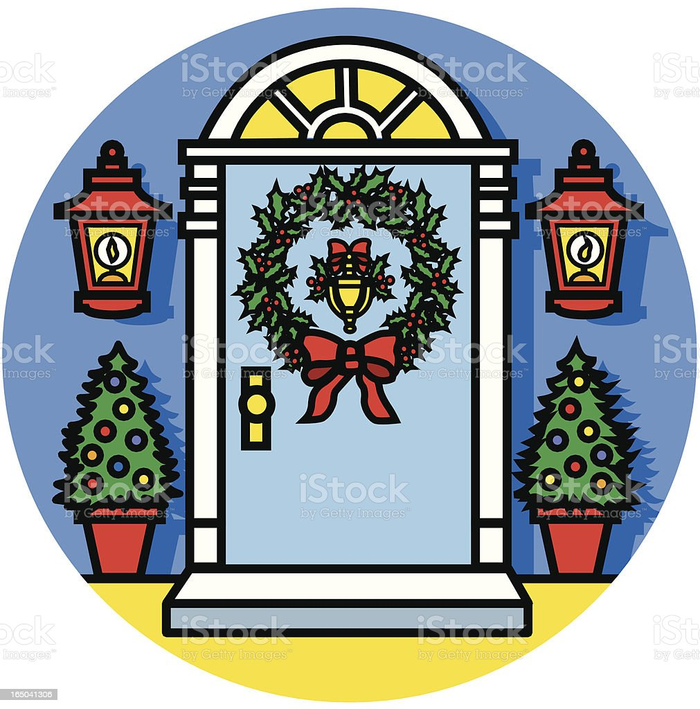 Christmas Victorian door icon royalty-free christmas victorian door icon stock vector art & more images of architecture