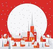 winter Christmas village scene