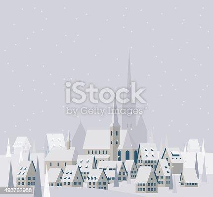 istock Christmas Village Landscape - Illustration 493762988