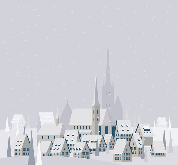 christmas village landscape - illustration - köy stock illustrations