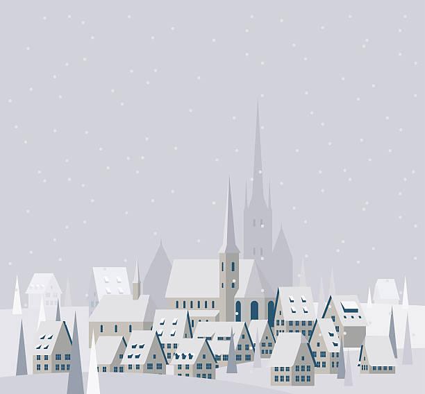 Christmas Village Landscape - Illustration winter Christmas village scene village stock illustrations