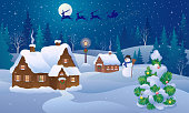 Vector illustration of a Christmas night landscape with a snowman and Santa Claus sleigh