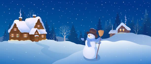 stockillustraties, clipart, cartoons en iconen met kerstdorp sneeuwpop - christmas cabin