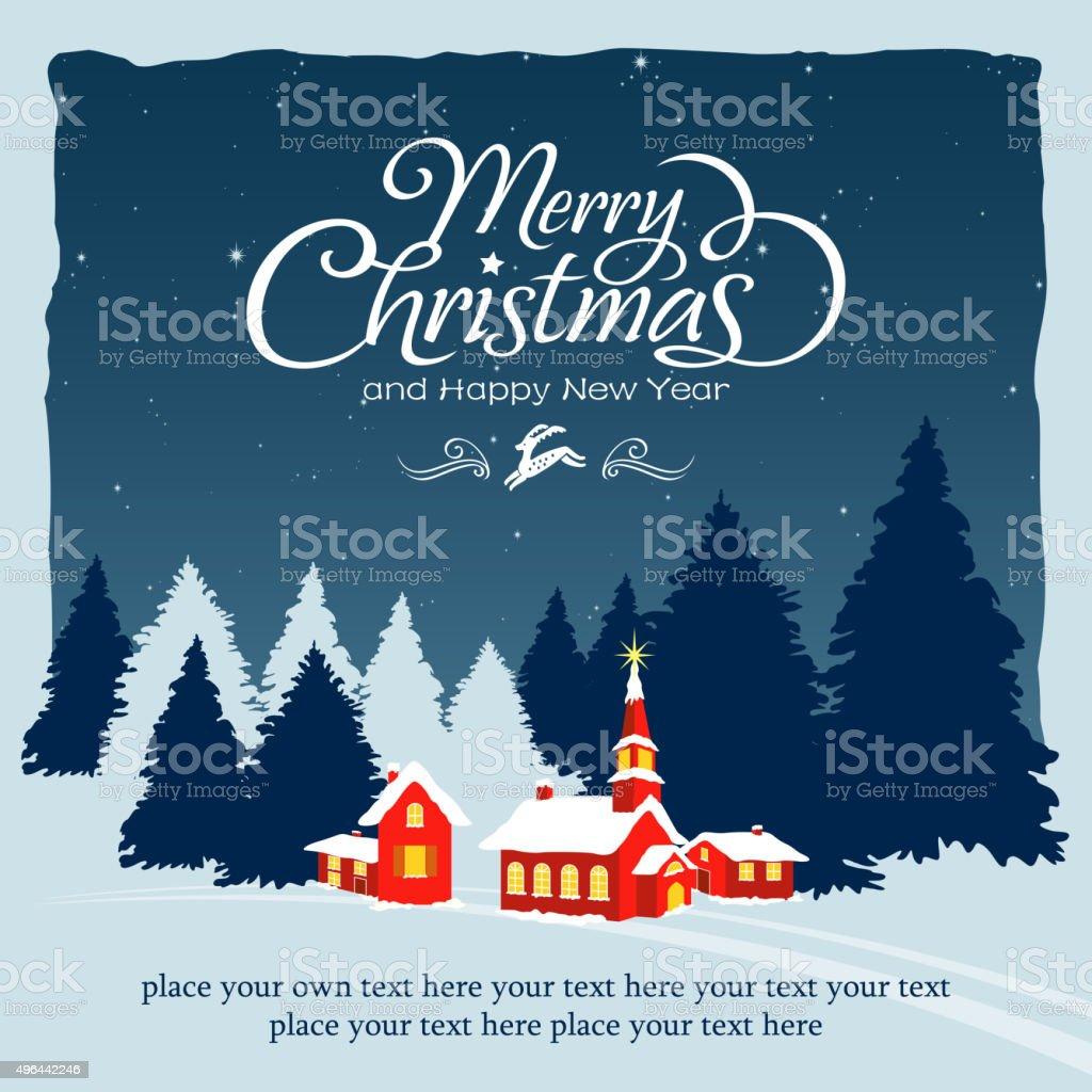 Christmas village tranquil scenes vector art illustration