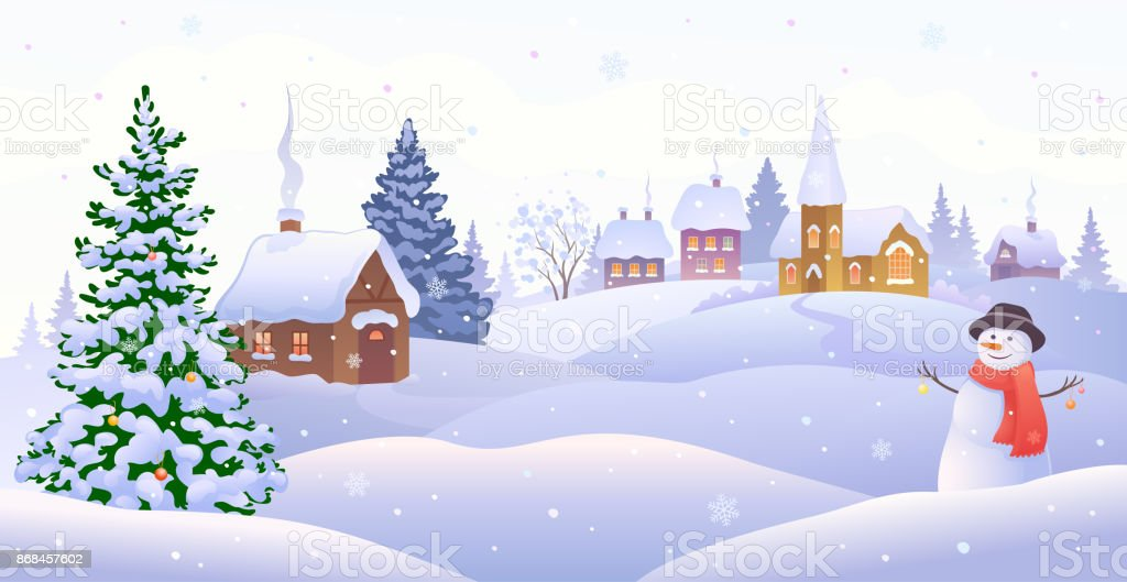 Christmas Village With Snowman Stock Illustration ...