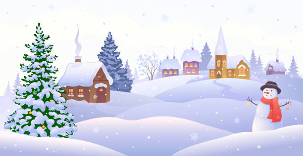 Christmas village with snowman Vector illustration of a Christmas village scene with a cute snowman backgrounds clipart stock illustrations